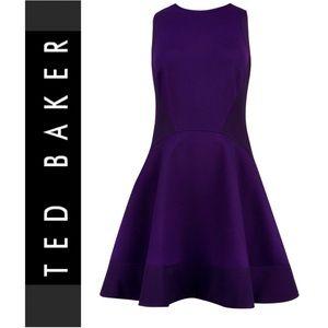 Ted Baker London Purple Fit & Flare Dress Sz 0